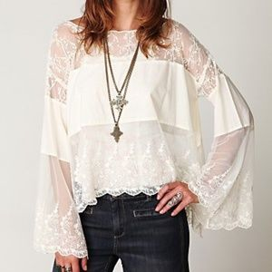 Free People Cannaregio Mesh Top sheer lace